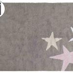 Детский стираемый ковер Три звезды Three Stars (серые и розовые). Состав 100% хлопок. Производитель ТМ «Lorena Canals» , Испания