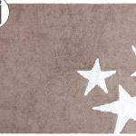 Детский стираемый ковер «Три звезды» бежево-белый. Состав 100% хлопок. Производитель ТМ «Lorena Canals» , Испания