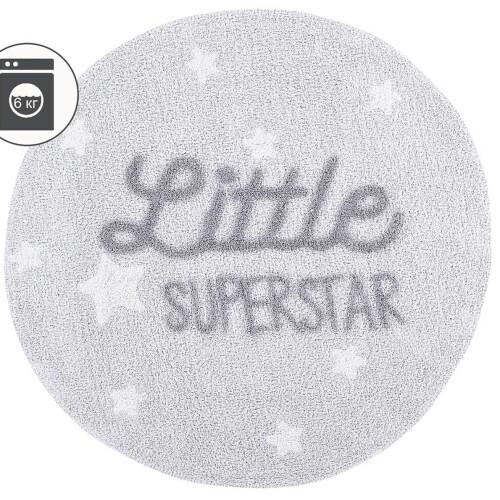 Детский стираемый ковер с надписью «Little Superstar» серый. Состав 100% хлопок. Производитель ТМ «Lorena Canals» , Испания