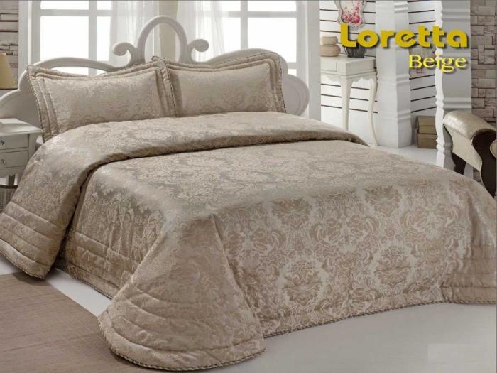 Покрывало 2-спальное жаккард «LORETTA» (бежевый). Состав 50% хлопок, 50% полиэстер. Производство ТМ «Karna» («Карна»), Турция