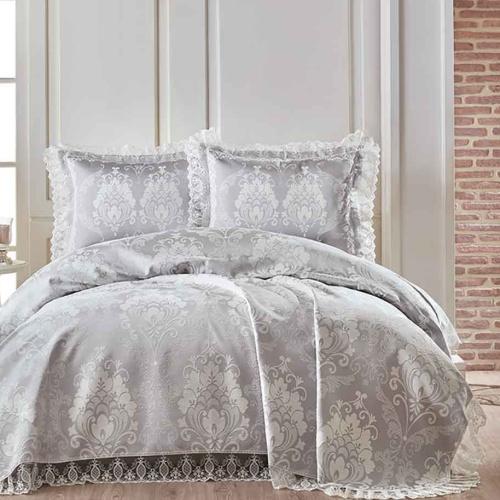 Покрывало 2-спальное жаккард «BEGONYA» (Серый). Состав хлопок, полиэстер. Производство ТМ «Karna» («Карна»), Турция