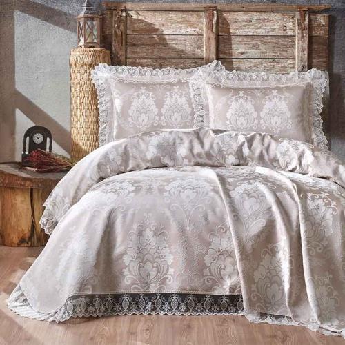 Покрывало 2-спальное жаккард «BEGONYA» (бежевый). Состав хлопок, полиэстер. Производство ТМ «Karna» («Карна»), Турция
