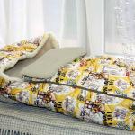 Детский шерстяной конверт в коляску «Мишки желтые Верблюд Капучино». Состав 30% верблюжий пух, 70% открытая шерсть мериноса. ТМ «MagiсWool», Россия