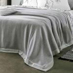 Шерстяной плед-покрывало LIMA perle серый. Состав 100% шерсть мериноса. Производство ТМ Blanc des Vosge, Франция (страна производства Италия)