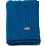 TORSADES bleu вязаный шерстяной плед. 80% овечья шерсть, 20% полиамид. ТМ Blanc des Vosge, Франция