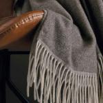 Шерстяной плед с кистями «HIMALAYA EBENE». Плед 100% кашемир. Производитель ТМ «Blanc des Vosge», Франция