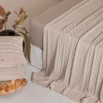 Плед вязаный LUX 233 (пыльно-жемчужный) 100 хлопок. Производство Luxberry (Люксберри), Португалия