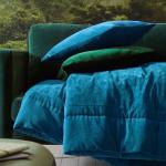 Покрывало «BYZANCE BLEU PAON» синий. Состав верх 100% Хлопок-Вельвет, низ 100% Хлопок. ТМ «Blanc des Vosges», Франция (страна производства Индия)