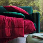 Покрывало «BYZANCE BOURGOGNE» бордовый. Состав верх 100% Хлопок-Вельвет, низ 100% Хлопок. ТМ «Blanc des Vosges», Франция (страна производства Индия)